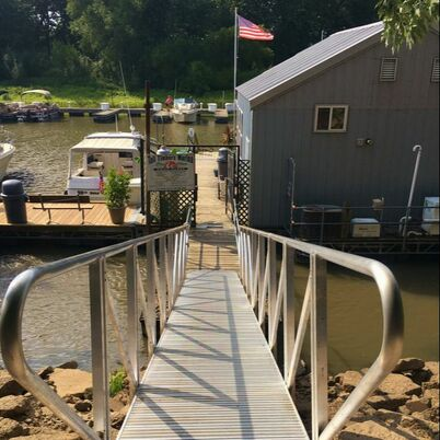 Walkway to the Marina and Bar from land